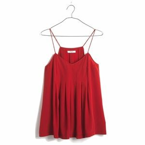 Madewell Silk-pleated Red Cami